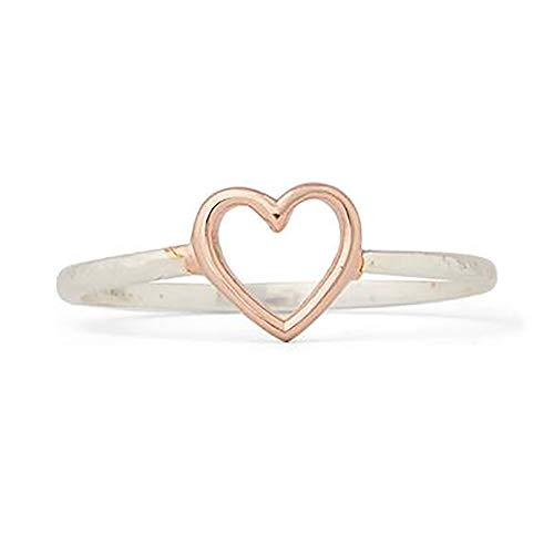 Pura Vida Silver-Plated Open Heart Ring - .925 Sterling Silver Band, Size 8