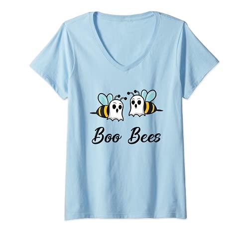 Mujer Regalo de disfraz de Halloween para parejas de Boo Bees Camiseta Cuello V
