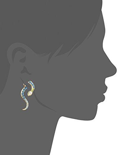 Betsey Johnson Pave Crystal Snake Front & Back Linear Earrings