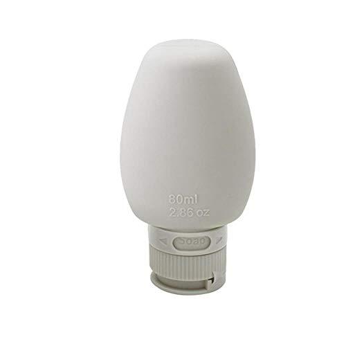 HSC Reise-Aufbewahrungsflasche, tragbar, wiederverwendbar, auslaufsicher, nachfüllbar, für Toilettenartikel, Shampoo 80 ml, 1 Stück, Hellgrau.