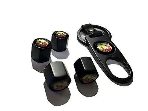 Yongmin DUYANGYANG Abarth Metal Stopper Cap Llavero Conjunto Negro Producción de Encargo Abarth Llavero (Color Name : Black)