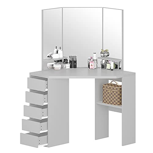 Bespivet Makeup Desk Vanity Table with 3 Mirrors and 5 Drawers Corner Dressing Table Storage Cabinet for Girls Bedroom(Grey)…