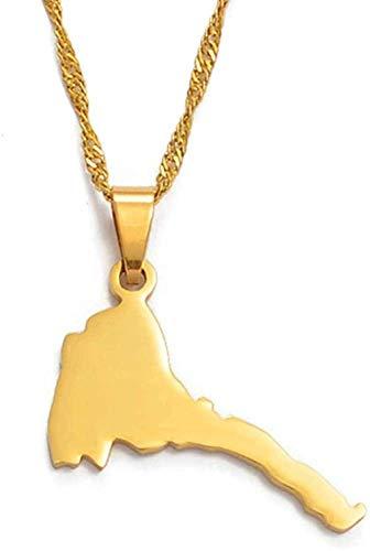 NC122 Colgante y Collares con Mapa de Eritrea de 2 8Cm para Mujer/niña Mapa de Color Dorado de Eritrea Joyería de Cadena para niños
