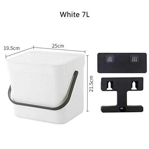 Coner keukenkastdeur Opknoping prullenbak met deksel Wandgemonteerde afvalmanden Push-top prullenbak Vuilnisbak, wit 7L