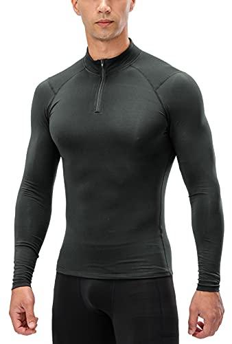 Panegy Maglia Termica a Manica Lunga Uomo Maglia Sportiva Compressione Elastico Comodo Top Abbigliamento per Corsa Esercizio Grigio L