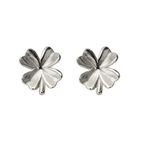 Richight シンプルな純銀製夏のかわいい小さなクローバースタッドピアス、sv925四つ葉のクローバーピアス可愛らしいミニかわいい葉ピアス、レディース/メンズアクセサリー 耳飾りイヤリング、さわやか森ガールっぽいイヤリング