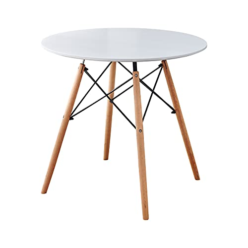 nozama White Dining Table for 4 Kitchen Dinner Table Round Kitchen Dining Desk Table with Solid Wood Legs and Table Top