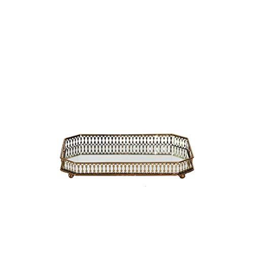 Metallo Nordic Confine Cava Rotonde Lungo Specchio Decorazione Gioielli di stoccaggio Vassoio Salotto tavolino Ornamenti