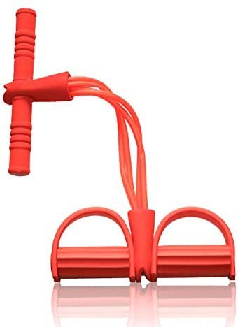 Ideal Swan (65cm) 4 Tube Beintrainer Bauch Trainingsgerät Pull Rope Resistance Sit-Up Trainer Leg Exerciser mit Fußpedal Abdominal Exerciser Fitness - Rot
