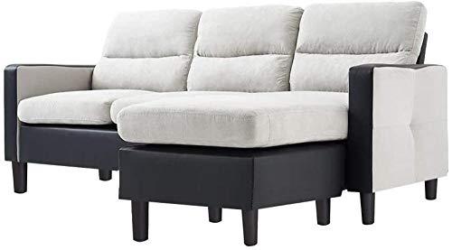 Sofá de 3 plazas con tela de reposapiés de chaise reversible y cuero sintético L en forma de sofá Sofá de esquina de la esquina izquierda y derecha Mobiliario de la sala de estar (gris oscuro)-gris