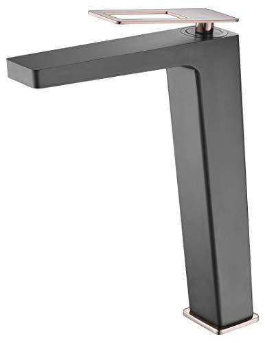 Grifo lavabo caño alto Imex Suecia Negro Oro Rosa BDC032-3NOR