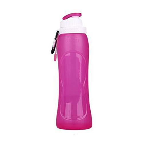 PXSTYLE Tragbare zusammenklappbare Wasserflasche für Sport Outdoor Reisen Radfahren Camping,Rose lila