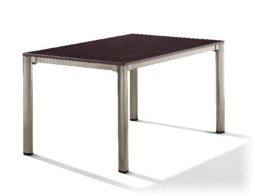 Sieger 1770-60 Exclusiv-Tisch mit Puroplan-Platte 140 x 90 cm, Aluminium-Gestell champagner, Tischplatte Schieferdekor mocca
