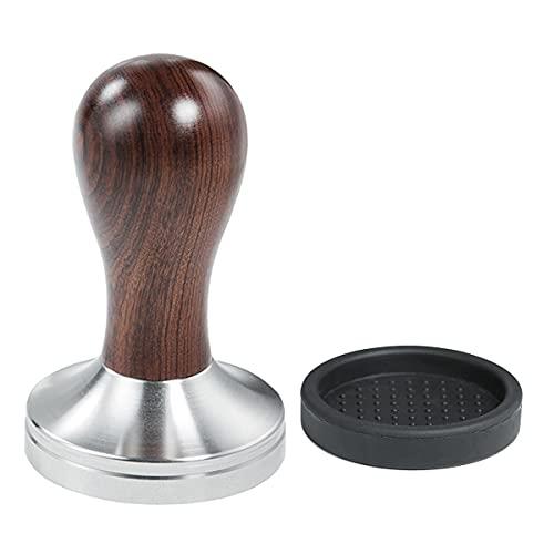 Yolococa 58mm Kaffee Tamper mit Tampermatte Holzgriff Edelstahl Base Espresso Barista Stempel Fuer Siebträger Kaffeemaschine Zubehör
