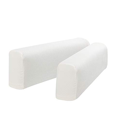 Hanhao Armrest Cover Ultra Thick and Soft Spandex Stretch Pixel Arm Cover for Recliners Sofas Chairs Loveseats Elastic Anti Slip Furniture Armrest Protector for Couch Set of 2 (Stone White)