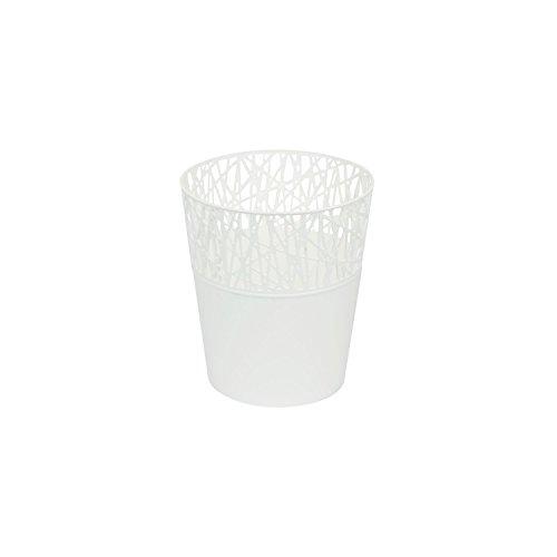 Rond cache-pot 11.5 cm CITY en plastique romantique style en blanc