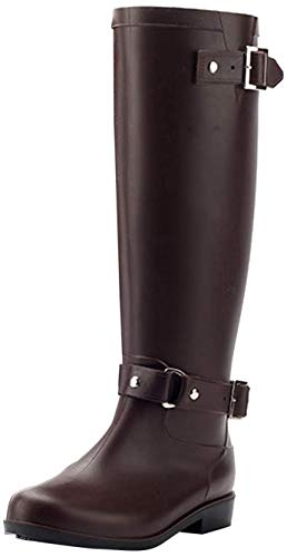 LILY999 Stivali di Gomma Donna Antiscivolo Impermeabile Neve Festival Alti Pioggia Stivali Regolabile Zip Fibbia Rain Boot Wellington Boot(Marrone,36 EU)