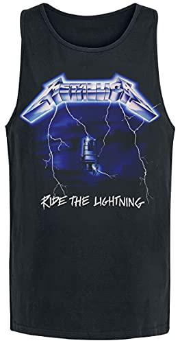 Metallica Ride The Lightning Hombre Top Tirante Ancho Negro L, 100% algodón, Regular
