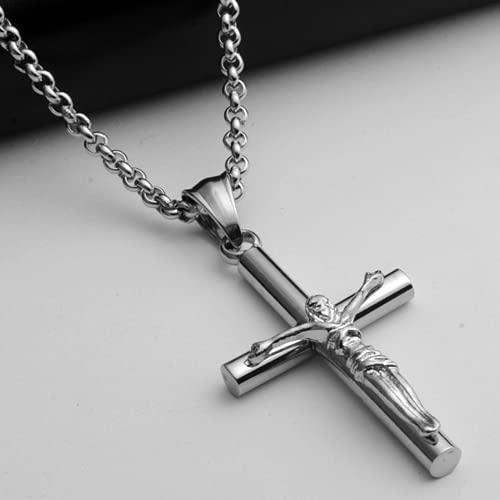 Bosi General Merchandise joyería Cruzada, Collar de Hombres, Colgante de Acero de Titanio, joyería Religiosa, Regalo Creativo