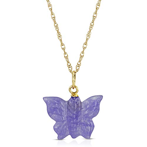 14K Yellow Gold Dainty Lavender Jade Butterfly Pendant Necklace