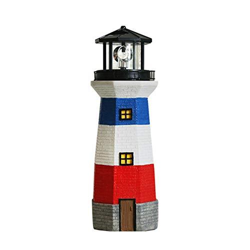 WAYERTY Solar Garten Leuchtturm Statuen Mit Rotierenden Lampe Outdoor Deko Handwerk Ornamente Lichter Garten Terrasse Rasen Skulpturen A 13x13x38cm(5x5x15inch) | Lampen > Aussenlampen > Solarleuchten | WAYERTY