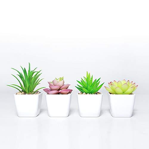 DuHouse Planta artificial de plantas suculentas falsas en maceta en mini macetas cuadradas blancas para decoración de boda, hogar, jardín, juego de 4 (verde)
