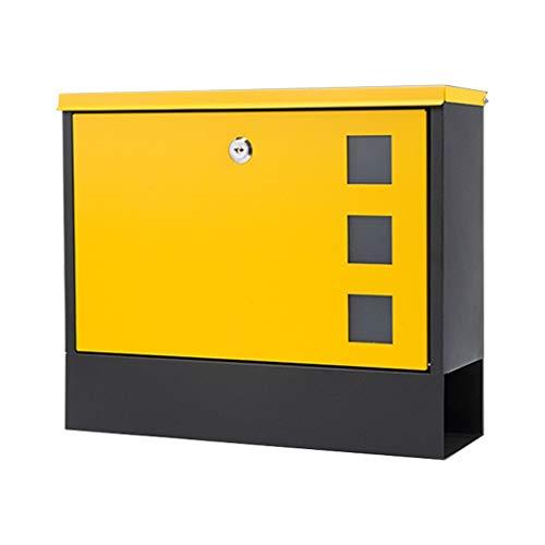 Jiamuxiangsi- E-mail - IJzer, brievenbus brievenbus buitenmuur opknoping buiten met slot smeedijzer anti-roest regen brievenbus, geschikt voor villa's, binnenplaatsen, huizen - 36X10X30cm -Post Box