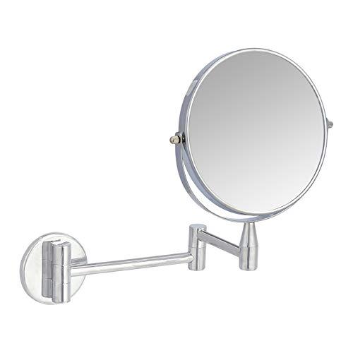 AmazonBasics – Kosmetikspiegel zur Wandmontage, Vergrößerung 1-fach/5-fach, verchromt