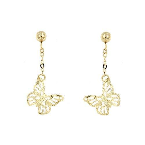 forme di Lucchetta per Donna - Orecchini Farfalla Pendenti Lunghi Eleganti in Oro 14 carati - Made in Italy Certificato, BR8242