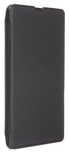 Hülleit Protective Slimline Folio Hülle Horizontal Flip Hülle Cover & Bildschirmschutzfolie im Set für Microsoft Lumia 535 - Schwarz