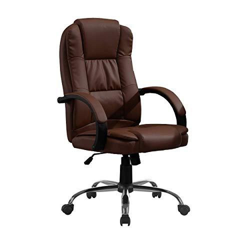 Halter Silla de oficina reclinable de piel sintética con respaldo alto, reposacabezas integrado, cojín acolchado grueso de nailon,...