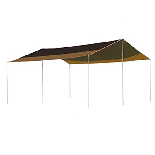 Camping Étanche Bâche, Abri Tarp Camping Léger Hamac Pluie Fly Imperméable Durable Portable Pôle Compact Au Sol Clou Et Corde Et Zamberlan (6 * 4.5M)