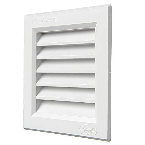 La Ventilazione G1414B Grille de ventilation carrée en plastique, dimensions 140 x 140 mm à encastrer. Blanc.
