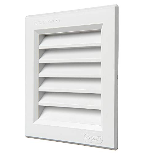La Ventilazione G1414B - Rejilla de ventilación cuadrada de plástico, tamaño 140 x 140 mm, empotrable, color blanco