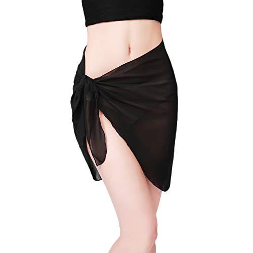 CHIC DIARY Chal de playa de gasa para mujer, sexy, falda envolvente, toalla de playa, falda, bikini, pareo para playa, vacaciones Negro Talla única