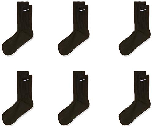 Nike Everyday Cushion Crew Socks, Unisex Nike Socks, Black/White, M (Pack of 6 Pairs of Socks)