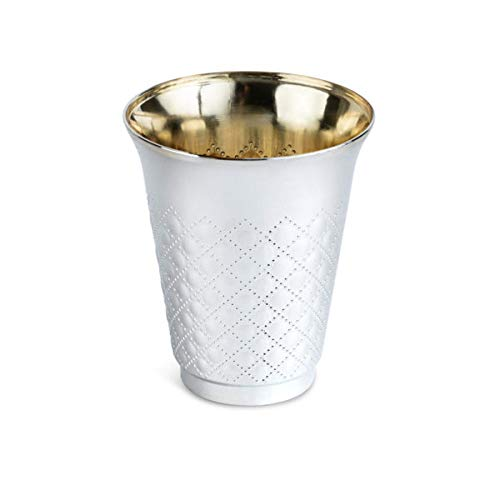 Silver Coated Plastic Disposable Kiddush Wine Cups, 25 Pack, 6 oz, for Wedding, Passover Seder, Gifts, Kids, or to simply sip your wine from.