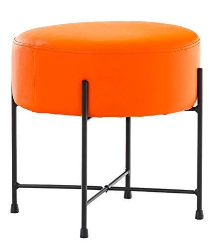 CLP Sgabello Puff Tondo Soggiorno Marseille I Pouf Poggiapiedi Divano In Similpelle E Metallo Altezza 40 CM, Colore:arancione