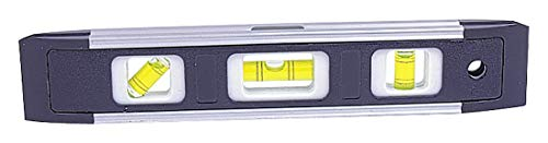 Medid MD/TP300 Mini nivel TORPEDO, fabricado en plástico ABS, con refuerzos de aluminio. Base magnética. 3 burbujas de precisión 2mm/m