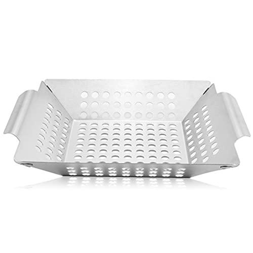 ALMAK Grillkorb aus Edelstahl - perfekt für Grillgemüse, Grillschale geeignet für alle Grillarten, Gemüsekorb für Gasgrill, 20,6 x 20,6 x 3,8 cm