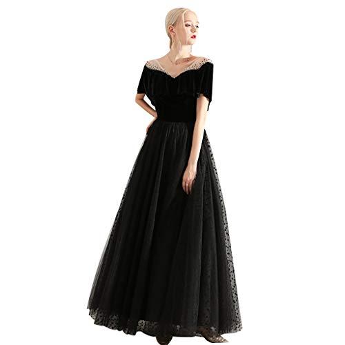 Vestido de Noche Largo Vestido de Dama de Honor Elegante Negro de la Boda Ailin Home (Color : Negro,...