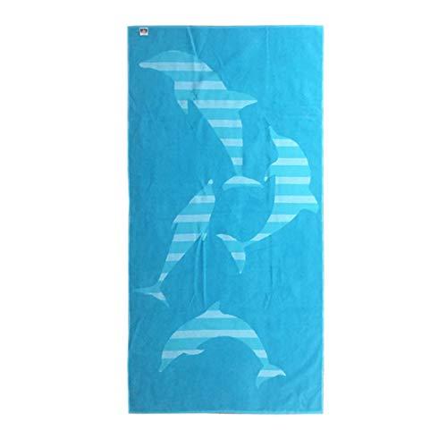 Toalla de playa de rizo jacquard 100% algodón 90 x 180 fantasía delfines