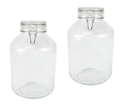 Bormioli Fido Gläser mit Bügelverschluss 2 teilig | Füllmenge 5 L | Luftdichte Konservierung durch den Gummiring sowie den Drahtbügelverschluss
