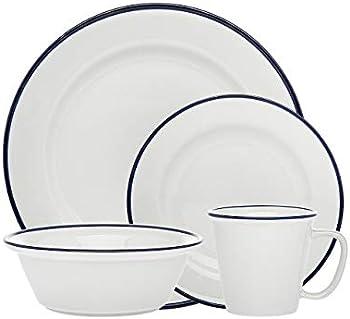16-Piece Godinger Bistro Blue Band Porcelain Dinnerware Set