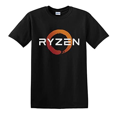 Ryzen T Shirt AMD Gaming CPU Logo Black White T Shirt Man T-Shirt 100% Cotton Sleeve Shirt Black XXL