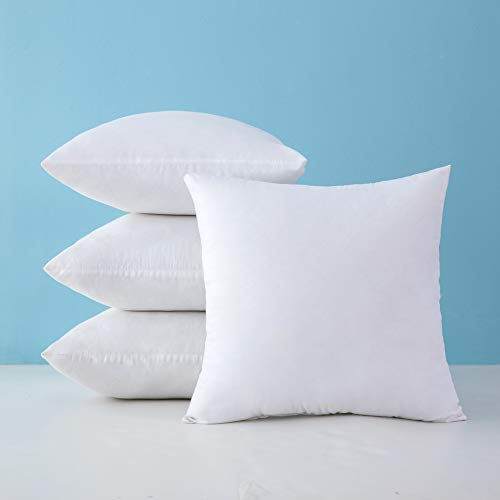 MIULEE Pack of 4 Hypoallergenic Premium Pillow Inserts Decorative Pillow Stuffers Square Form for Couch Sofa Bed Cushion 18x18 Inch