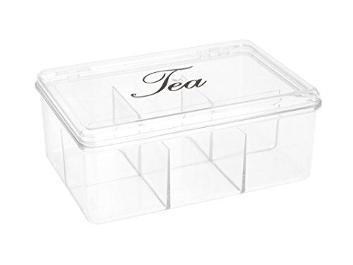 Teebeutel aufbewahren in Acryl, Kunsstoffteebox mit 6 Fächern
