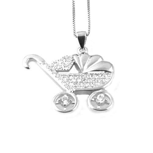 amorili Halskette mit Rollstuhl, Kinderwagen, Frau, Silber 925 mm 25 mm 24 Kette von 42 cm - cll1811