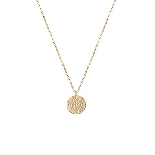 Fettero Pendant Necklace for Women Dainty Handmade 14K Gold Fill Carved Full Round Moon Phase Pendant Wafer Chain Minimalist Jewelry