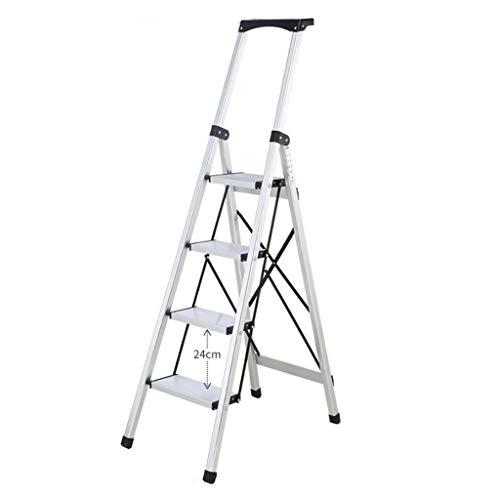 LRZLZY 3-Step / 4-Stufenleiter, zusammenklappbare tragbare Stehleitern, Hochleistungsaluminiumtrittschemel, Küchenleiter mit Nicht Beleg-Matte (Size : 4-Step)
